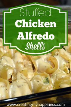 In this twist on the classic stuffed shells you use chicken, broccoli, and alfredo sauce to make a creamy, delicious dish that the whole family will love!