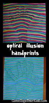 How-To Create Optical Illusion Handprint Art School Age Activities, Art Activities, Creative Activities, Creative Kids, Projects For Kids, Art Projects, Crafts For Kids, Auction Projects, Daycare Crafts
