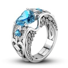 Angel Heart Synthetic Aquamarine Engagement Ring For Women