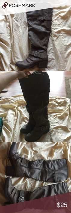Knee/thigh high boots! These boots are super cute and really comfortable. They go up to thigh but depending on your height will depend. Perfect condition I only wore them a few times. Shoes Over the Knee Boots