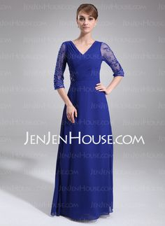 Mother of the Bride Dresses - $153.49 - Sheath V-neck Floor-Length Chiffon  Charmeuse Mother of the Bride Dresses With Embroidered  Ruffle (008006382) http://jenjenhouse.com/Sheath-V-neck-Floor-length-Chiffon-Charmeuse-Mother-Of-The-Bride-Dresses-With-Embroidered-Ruffle-008006382-g6382