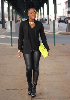 All black with a pop of neon yellow