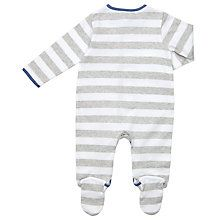 Buy John Lewis Baby Striped London Bus and Dog Applique Sleepsuit, Grey/White Online at johnlewis.com