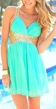 Mint Goddess Chiffon Dress