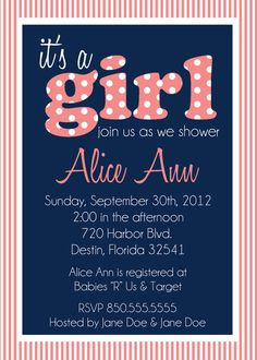 It's a GIRL baby shower invitation by PaisleyPearInvites on Etsy, $1.50