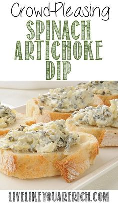 Awesome recipe that tastes better than most restaurant spinach artichoke dips. Super easy to make and a crowd pleaser.