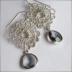 Lace Earrings- Silver Metal Lace Chandelier Earrings with Silver Encased Smokey Grey Glass Briolettesa. $29.00, via Etsy.