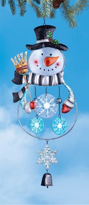 Holiday Sparkly Snowman Windchime