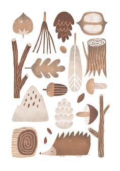 my name is Nastia Sleptsova. I am illustrator from Ukraine. Art And Illustration, Pattern Illustration, Illustrations, Autumn Doodles, Forest Drawing, Autumn Forest, Autumn Inspiration, Graphic, Gouache