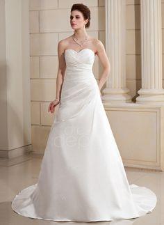A-Line/Princess Sweetheart Chapel Train Satin Wedding Dress With Ruffle Beading (002000686) http://www.dressdepot.com/A-Line-Princess-Sweetheart-Chapel-Train-Satin-Wedding-Dress-With-Ruffle-Beading-002000686-g686 Wedding Dress Wedding Dresses #WeddingDress #WeddingDresses