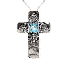 Or Paz Sterling Roman Glass Cross Necklace