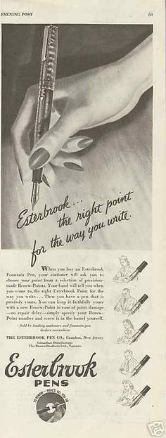 1944 Esterbrook the Right Point Fountain Pen Original Vintage Print Ad