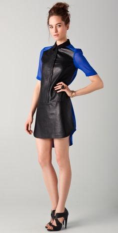 Tibi Colorblock Shirtdress thestylecure.com