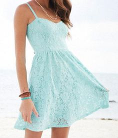 Blue and lacy dress. Its really pretty. find more women fashion ideas on www.misspool.com