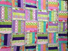 Rag Quilt Modern Floral  53 X 43 Blanket Cotton by nanaswoolies