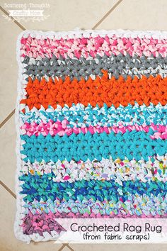 Make a simple crocheted rag rug using fabric scraps or up-cycled t-shirts!