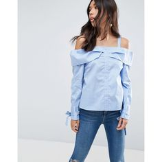 ASOS Cold Shoulder Top With Button Front And Tie Cuff featuring polyvore women's fashion clothing tops blouses blue woven top blue cold shoulder top cut out shoulder blouse square neck top tie top