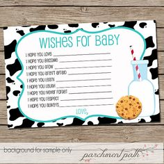 Milk and Cookies Baby Wishes - Boy Baby Shower