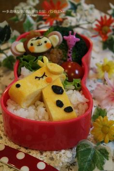 Egg Roll Giraffe and Sausage Monkey, Animals Kyaraben Bento Lunch food art Japanese Food Art, Japanese Lunch Box, Cute Bento Boxes, Bento Box Lunch, Bento Kawaii, Bento Kids, Kawaii Cooking, Boite A Lunch, Bento Recipes