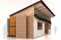 Casa Baixo Custo Building Design, Building A House, Interlocking Bricks, Bathroom Design Layout, Hillside House, Unusual Buildings, Weekend House, Tiny House Plans, House Roof
