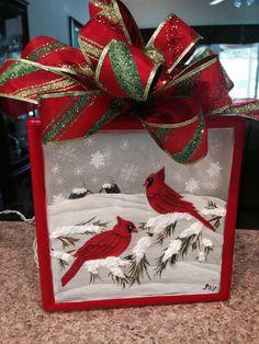 painted glass blocks decorative glass blocks lighted glass blocks - Christmas Glass Blocks