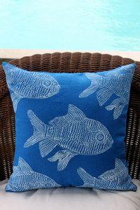 beach decor blue fish pillow