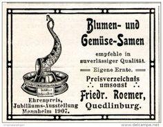 Original-Werbung/ Anzeige 1911 - BLUMEN UND GEMÜSE - SAMEN /  ROEMER QUEDLINBURG - ca. 55 x 45 mm