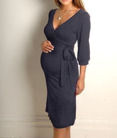 Love the look of this wrap dress Nothing wrong with showing off that adorable bump and looking sexy while doing it :)