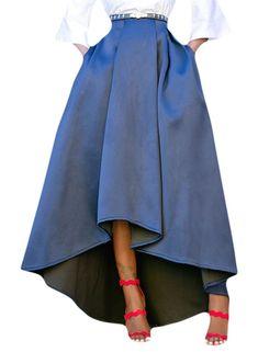 90d613153d Acelitt Women Casual Asymmetric High-Low High Waist Pleated Hem Maxi Prom  Skirt. Long Maxi SkirtsLong ...