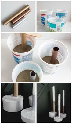 A Simple Concrete Project: Metallic Candlesticks Beautiful metallic candlesticks made with copper pipe, spray paint, and fast drying concrete mix! You'll love this quick and easy DIY project. It's the perfect modern gift idea! Concrete Crafts, Concrete Projects, Concrete Design, Diy Home Crafts, Diy Home Decor, Diy Simple, Diy Furniture Projects, Candlesticks, Decoration