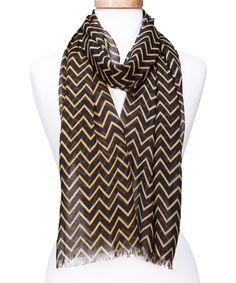Black & Gold Chevron Fringe Scarf
