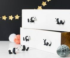 Decorative Panda Drawer or Cupboard Knobs ~ Set of 6 Pandas ~ Children's Bedroom Knobs ~ Monochrome Nursery Decor Bedroom Themes, Nursery Themes, Nursery Decor, Bedroom Decor, Nursery Ideas, Bedroom Ideas, Decorative Pebbles, Decorative Knobs, Furniture Knobs