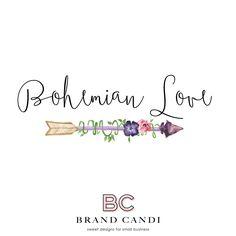 Bohemian Logo - Premade Logo Design - Watercolor Logo - Arrow Logo - Boutique…