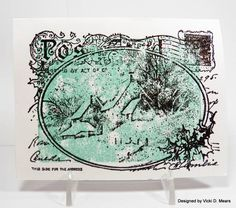 Stampendous Snowy Postcard, acrylic block collage technique, clear embossed