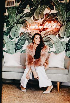 I woke up like this! 1state pink faux fur jacket. Florida blogger