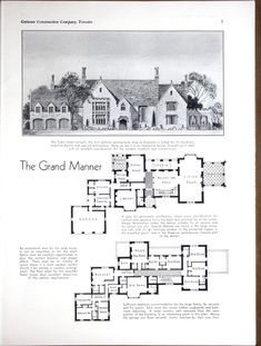 Planning, Building & Financing: The Home by Guinane Construction Company Published 1932 Victorian House Plans, Vintage House Plans, Tudor House, Vintage Houses, Revival Architecture, Architecture Old, Modern Mansion, House Blueprints, Sims House