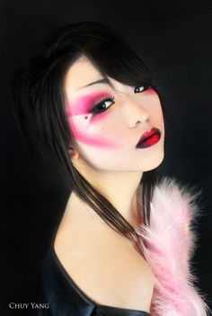 Bright pink and black make-up with a simple red crystal accent - Geisha by iChuy on deviantART.