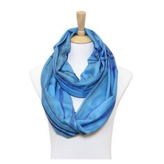 Blue and Multi Colored Plaid Infinity Scarf