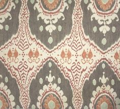 Bukhara Linen Fabric An ikat style printed linen in nutmeg, lime and russet printed on a light cream linen.