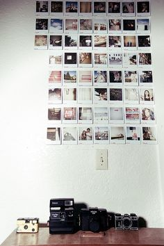 Polaroid Wall, posters, bed, room, dorm, idea, try, how to, tutorial,