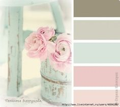 Grey, mint and pale pink color combo