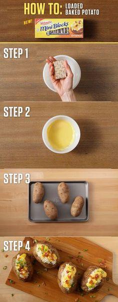 How to make a Loaded Baked Potato? Just take one 4oz. VELVEETA Mini Blocks and you're a few easy steps away from a deliciously cheesy classic. For more Mini Block recipes visit http://www.kraftrecipes.com/velveeta/main.aspx