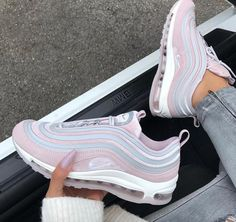 """Nike Air Max 97 Ultra LX – Vast Grey / Particle Rose Are you looking for matching sneakers for your summer outfits? The Nike Air Max 97 in """"Rose / Gray"""" can be combined with jeans and a chic top. Moda Sneakers, Nike Sneakers, Sneakers Fashion, Womens Nike Trainers, Sneakers Design, Girls Sneakers, Hype Shoes, Women's Shoes, Me Too Shoes"""
