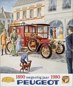 #Poster: 1890 Negentig jaar 1980 #Peugeot Ontwerper/artdirector:   Bernard, H.
