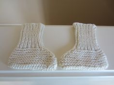 Baby Socks, Booties, Crib Shoes, Handknit, Preemie to Small Newborn Sizing, Cream Color, Cotton Blend, Photo Prop, Baby Shower Gift by TooCozy on Etsy