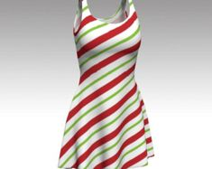 Candy Cane Dress, Flare Dress, Skater Dress, Bodycon Dress, Fitted Dress, Christmas Dress, Red and White Dress, Xmas Dress, Stripe Dress by laineydesigns. Explore more products on http://laineydesigns.etsy.com
