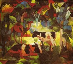 August Macke, Landscape with Cows and Camel, 1914