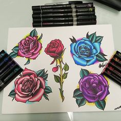 @esquel3to Rose flash all done with @chameleonpens on Bristol paper. #roses #roseflash #flashsheet #flash #color #chameleonmarkers #chameleonpens #markers #art #drawing #originaltattoo #sanpedro #harborarea #southbay #losangeles