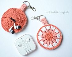 Crochet Handbags Free Crochet Pattern - Earbud Holder, Chapstick Holder, Charger Holder, Change Purse, Fidget Spinner Holder by A Crocheted Simplicity Crochet Keychain Pattern, Crochet Pouch, Crochet Yarn, Easy Crochet, Crochet Stitches, Free Crochet, Cotton Crochet, Crochet Coin Purse, Crochet Key Chain