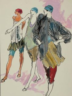 By Kenneth Paul Block, 1 9 7 8, Three female models in spring shorts and tops by  Perry Ellis,  Women's Wear Daily.
